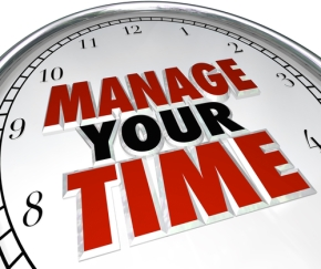 Image: Manage your time, organise your time, organize your time, get organised. Clock with Manage Your Time written on the face