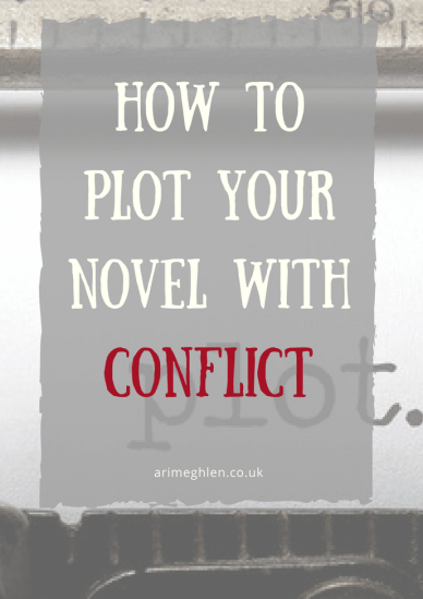 "Title Image: How to plot your novel with conflict. Image: Close up of typewritter with the word ""plot"" typed"