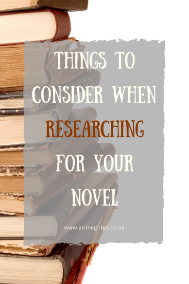 Title Image: Things to consider when researching for your novel. Image: Stack of old books