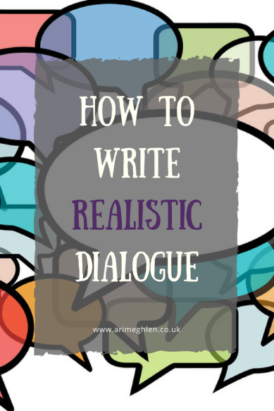 Banner how to write realistic dialogue, illustration of coloured speech bubbles