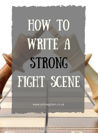Title Image: how to write a strong fight scene.  Image of two kings chess pieces leaning against each other