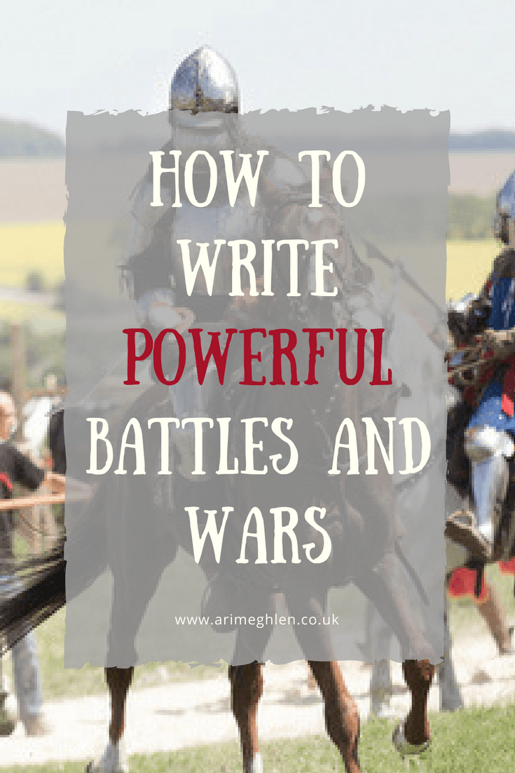 Title Image how to write powerful battles and wars. Image of a knight on horseback