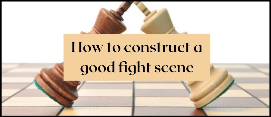 How to construct a good fight scene. Image of two king chess pieces resting against each other on a chessboard