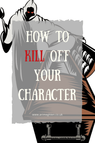banner how to kill off your character. Image of the grim reaper opening a coffin