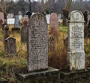 Picture of an overgrown graveyard with worn tombstones