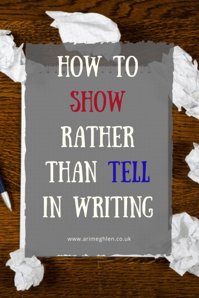 Title Image: how to show rather than tell in writing. Photo of a blank notepad surrounded by scrunched up papers