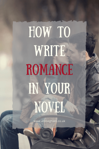 Title Image how to write romance in your novel. Image of a young couple kissing on a bench