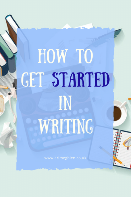 Banner how to get started in writing. illustration of a typewriter, books and coffee