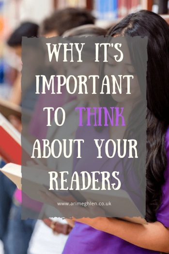 banner why it's important to think about your readers, image of people stood reading