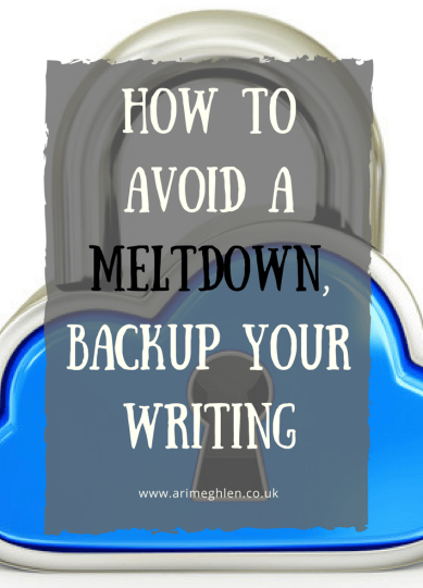 Title Image: How to avoid a meltdown: Backup your writing. Image: Padlock shaped like a cloud