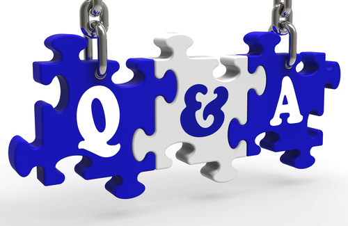 Ask the writer a question.  Vector image of 3 jigsaw pieces suspended on chains each piece has one character on it - Q & A.  Image from DepositPhotos.com