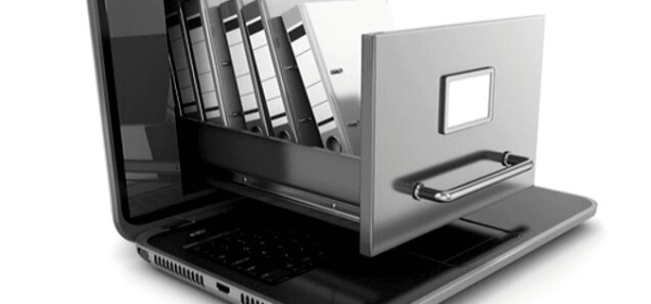 Featured-Images - Image of computer with a drawer coming from the screen with binders in it