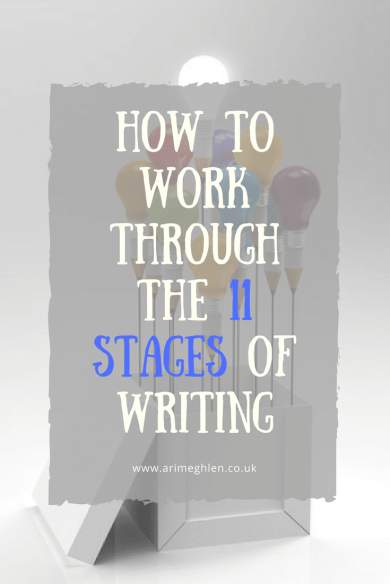 Title Image: Text - How to work through the 11 stages of writing. Image: Box of balloons made of lightbulbs