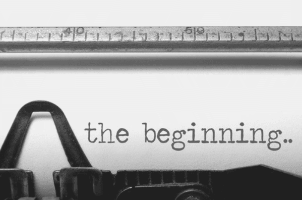 Featured Images - Chapter One - Typewriter with the words The Beginning typed