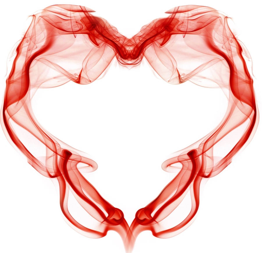 A heart outline made from red smoke. The fragile nature of love. Valentines