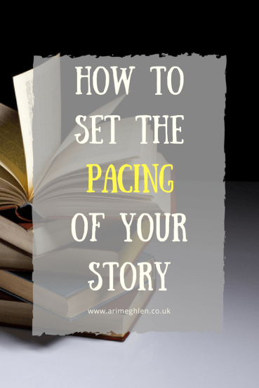 Banner how to set the pacing of your story. stack of books with the top one flipping open
