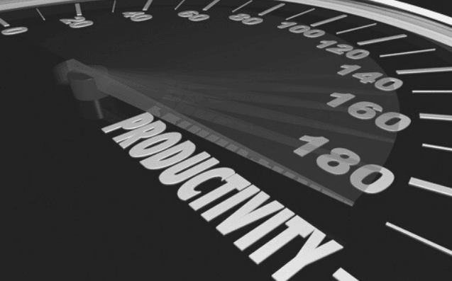 Featured Images - How to be more productive. Image of a speedometer with the highest scale being Productivity.