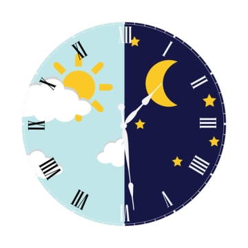 Clock day and night concept