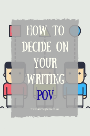 Banner how to decide on your writing pov (point of view).  image of three cartoon men