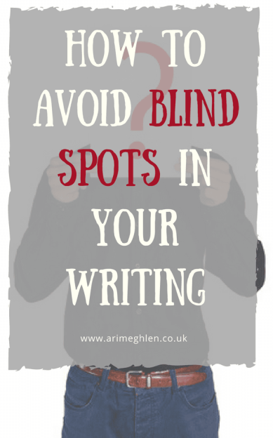 Title Image: How to avoid blind spots in your writing. Image of a man with a question mark in front of his face