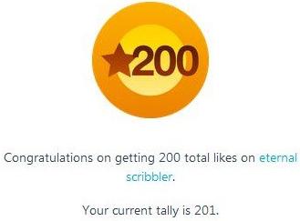 Image: Award showing 200 likes on blog