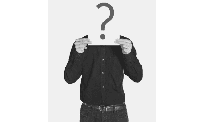 Featured Images - Man holding up a piece of white card to hide his head. The card has a question mark on it. Image from depositphotos