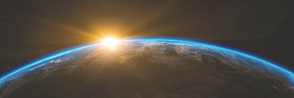 Velocity, image of the earth and the sunrise. Image from Pixabay