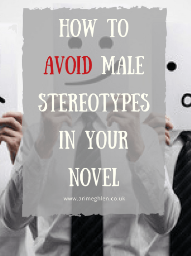 Title Image:  How to avoid male stereotypes in your novel.  Image: Group of men hopding up paper faces