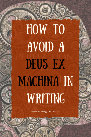 Title Image: How to avoid a deus ex machina in writing. Image: illustration of a head full of cogs