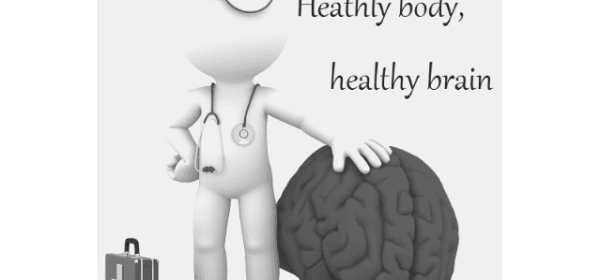 Featured Images - Be healthy. Keep your body and brain healthy. Image of a little man with a stethascope, doctor's bag stood beside a large brain
