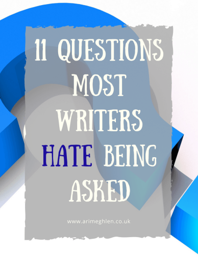 banner 11 questions most writers hate being asked. imag eof large blue question mark