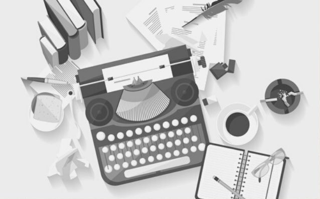 Featured images - vector flatlay of a typewriter, coffee cup, notepad, glasses, books and quill. Image bought from DepositPhotos