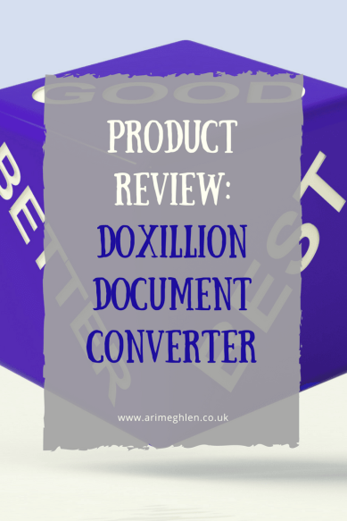 Banner product review doxillion document converter, image os 3 sides of a dice saying good, better, best