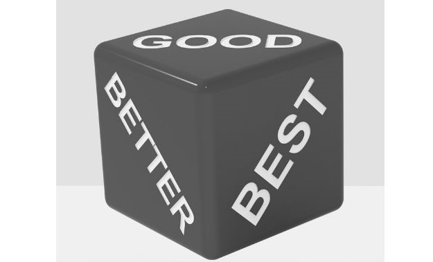 Featured Image - 3D vector image of a dice with the words Good, Better and Best on three sides. Image from GraphicStock