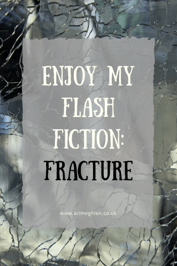 Banner enjoy my flash fiction: Fracture. Image of broke mirror