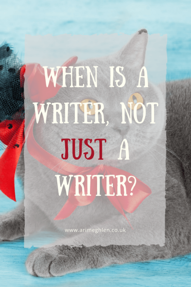 Banner when is a writer not just a writer? photo of a grey cat in a hat/bonnet