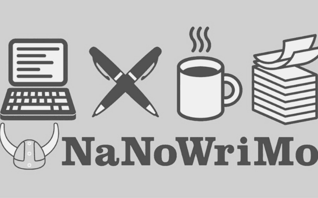 Featured Images - NaNoWriMo National Novel Writing Month. NaNoWriMo logo images of a viking hat, laptop, crossed pens, cup and pile of papers