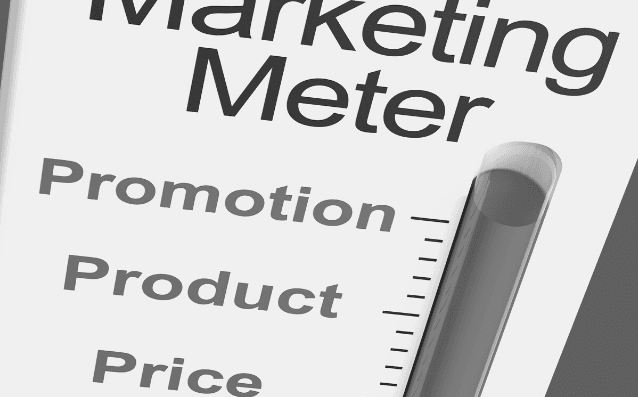 Featured Images - Marketing Plan. Image of a thermometer with Marketing Meter at the top and the measurements are Promotion, Product and Prce.