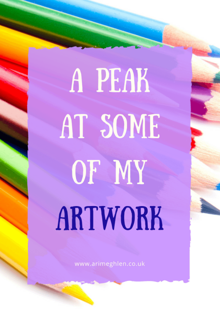 Banner a peak at some of my artwork, featuring a stack of coloured pencil crayons