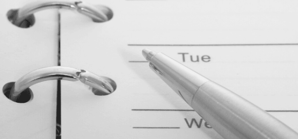 Featured Images - How to build a Content Calendar. Image of a pen resting on a diary, Image from Pixabay