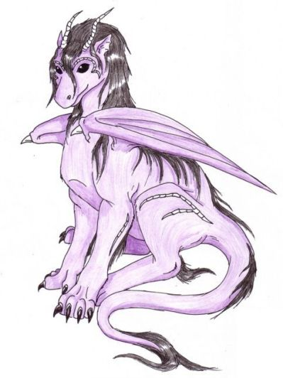 coloured drawing of a purple dragon with black mane sitting
