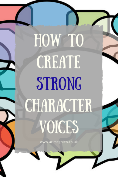 Title Image: how to create strong character voices. Image: Graphic of coloured speech bubbles