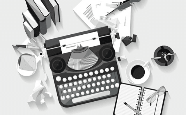 Featured Images - Vector of a typewriter, notepad, coffeecup. WriterLife