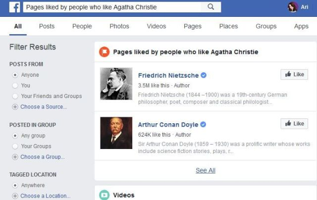 Image example of a Facebook Graph Search result