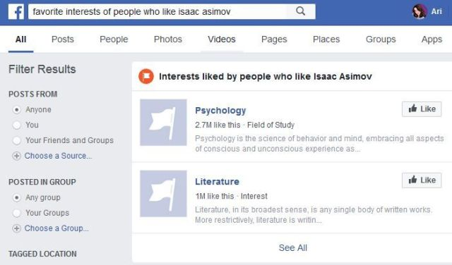Image of Facebook Graph Search results