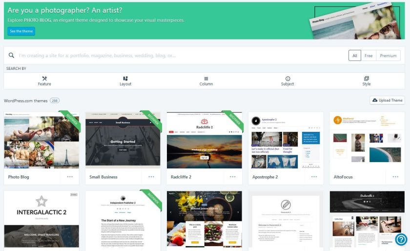 Screenshot of wordpress.com theme options