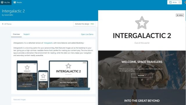 Screenshot of a WordPress.com theme - Intergalactic 2.