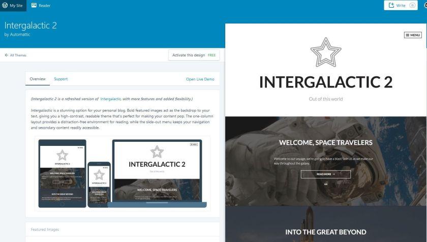Screenshot of a WordPress.com theme - Intergalactic 2.