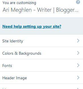 Screenshot of the customization dashboard for themes in WordPress.com