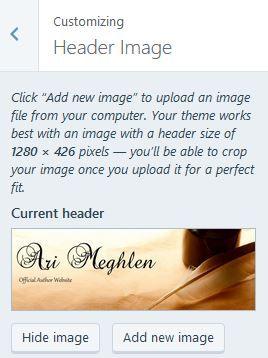Screenshot of the Customizing Header Image